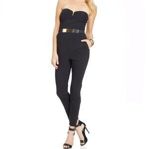 Material Girl Strapless Black Jumpsuit Medium